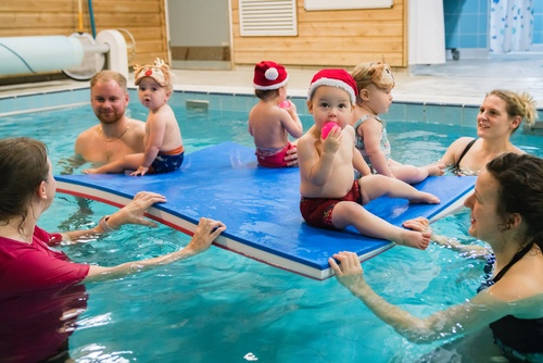 christmas swimming lesson